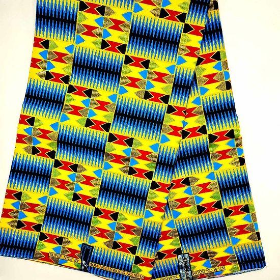 Coupon de tissu - Wax - Graphiques - Bleu / Jaune / Rouge