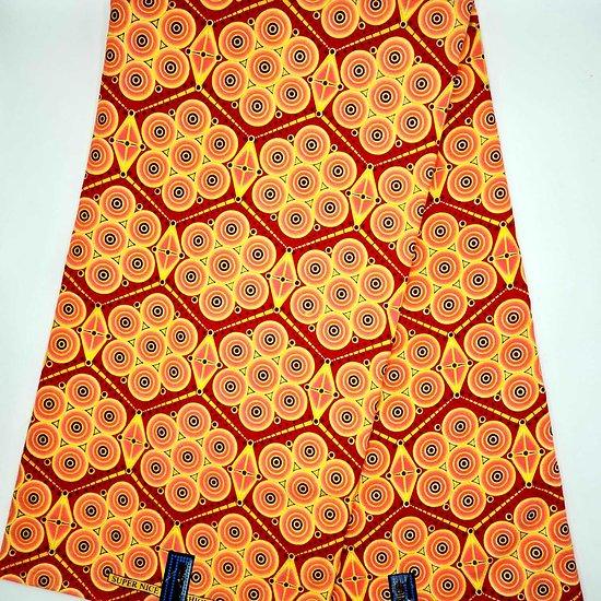 Coupon de tissu - Wax - Graphiques - Saumon / Jaune / Rouge