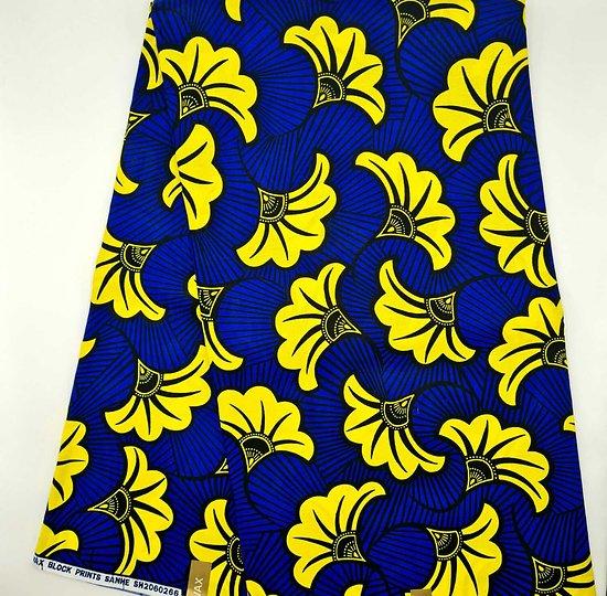 Coupon de tissu - Wax - Fleur de Mariage - Jaune / Bleu / Noir