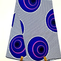Coupon de tissu - Wax - Ballons - Bleu / Blanc / Rose