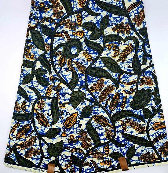 Coupon de tissu - Wax - Feuilles - Vert / Bleu / Orange