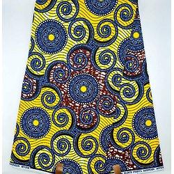 Coupon de tissu - Wax - Graphiques - Jaune / Bleu / Pourpre