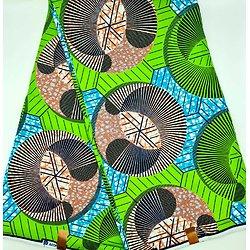 Coupon de tissu - Wax - Graphiques - Vert / Orange / Bleu