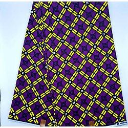 Couon de tissu - Wax - Graphiques - Violet / Jaune / Noir