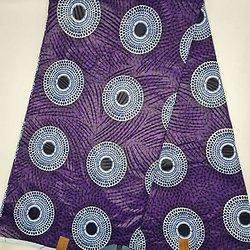 Coupon de tissu - Wax - Ronds - Violet / Noir / Blanc