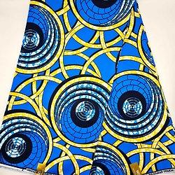 Coupon de tissu - Wax - Bol d'air - Bleu / Jaune / Noir