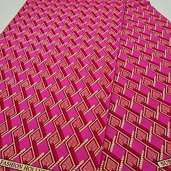Coupon de tissu - Wax - Indie fc - Pailleté - Rose / Fuchsia / Blanc - (1,50m)