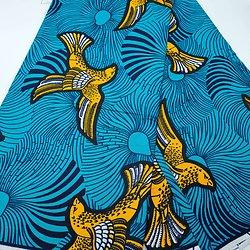 Coupon de tissu - Wax - Oiseaux - Vert / Jaune / Noir