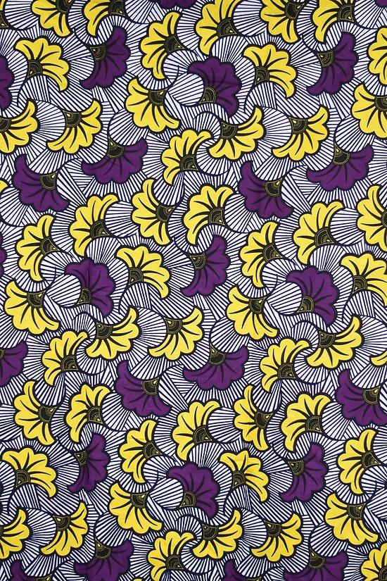 Pagne - Wax - Fleur de Mariage - Jaune / Violet / Noir