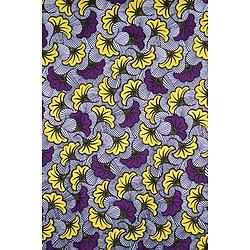 Coupon de tissu - Wax - Fleur de Mariage - Jaune / Violet / Noir