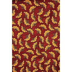 Coupon de tissu - Wax - Fleur de Mariage - Orange / Rouge / Noir