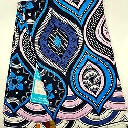 Coupon de tissu - Wax - Graphiques - Bleu / Blanc / Doré rose