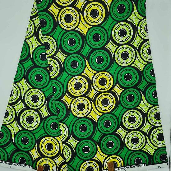 Coupon de tissu - Wax - Ronds - Vert / Jaune / Noir