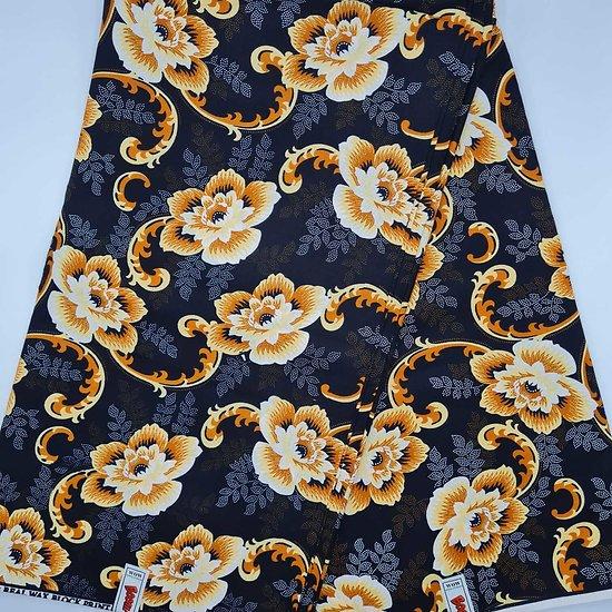 Coupon de tissu - Wax - Fleurs - Jaune / Orange / Noir