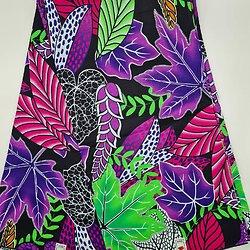 Coupon de tissu - Wax - Feuilles - Violet / Rose / Vert