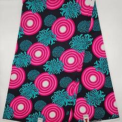 Coupon de tissu - Wax - Fleurs - Rose / Vert / Noir