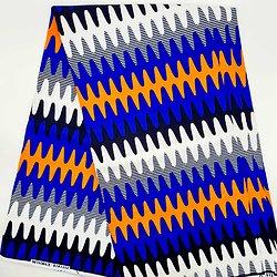 Coupon de tissu - Wax - Graphiques - Bleu / Orange / Noir
