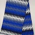 Coupon de tissu - Wax - Graphiques - Bleu / Noir / Blanc