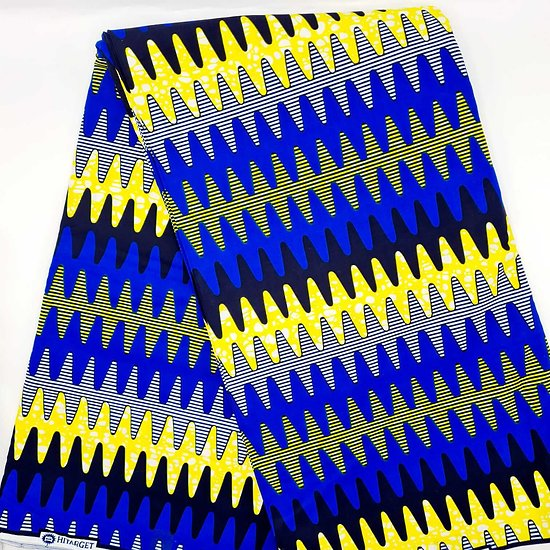 Coupon de tissu - Wax - Graphiques - Jaune / Noir / Bleu