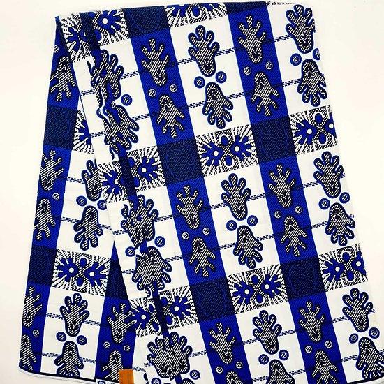 Coupon de tissu - Wax - Pieds - Bleu / Blanc / Noir