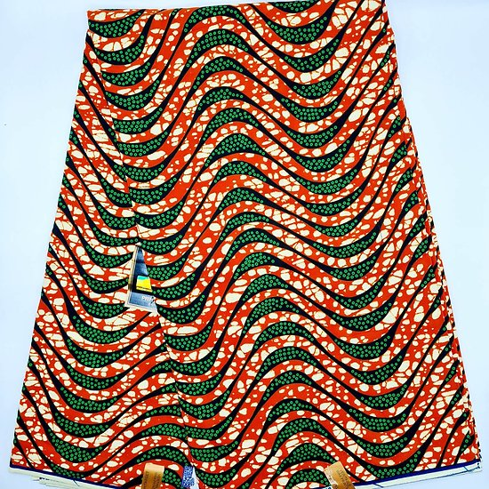 Coupon de tissu - Wax - Graphiques - Vert / Marron / Noir