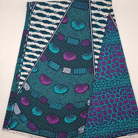 Coupon de tissu - Wax - Graphiques - Vert / Violet / Blanc