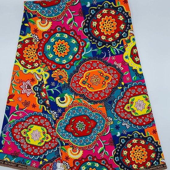 Coupon de tissu - Wax - Psychédélique - Multi-couleurs