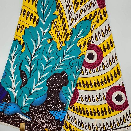 Coupon de tissu - Wax - Graphiques - Jaune / Blanc / Rouge