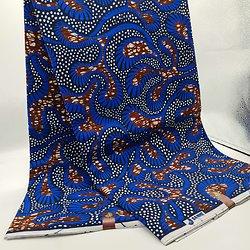 Coupon de tissu - Wax - Feuilles - Bleu / Marron / Blanc