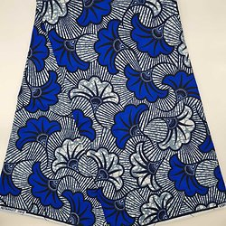 Coupon de tissu - Wax - Fleur de mariage - Bleu / Blanc / Gris