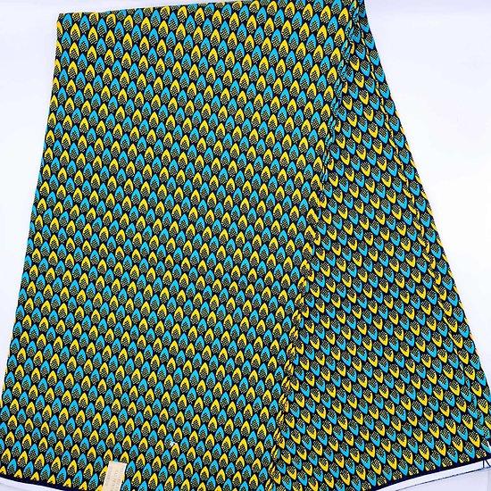 Coupon de tissu - Wax - Ecailles - Vert / Jaune / Noir