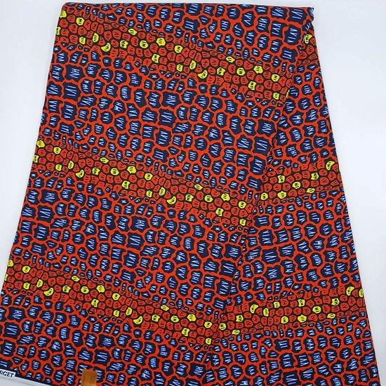 Coupon de tissu - Wax - Graphiques - Rouge / Jaune / Bleu