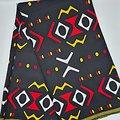 Coupon de tissu - Wax - Graphiques - Noir / Rouge / Jaune