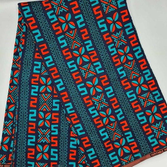 Pagne - Wax - Graphiques - Bleu / Orange