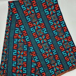 Coupon de tissu - Wax - Graphiques - Bleu / Orange