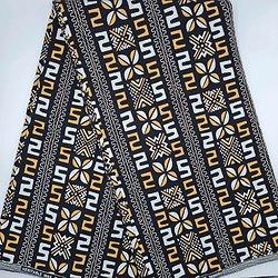 Coupon de tissu - Wax - Graphiques - Ocre / Blanc / Noir