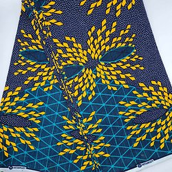 Coupon de tissu - Wax - Graphiques - Jaune / Bleu