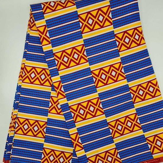 Coupon de tissu - Wax - Graphiques - Orange / Bleu / Rouge