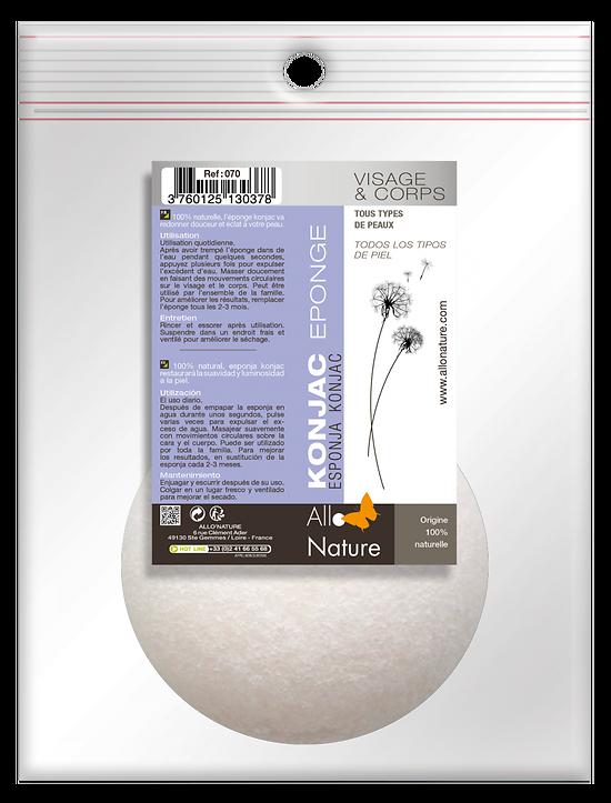Eponge KONJAC 100% naturelle visage et corps - Allo'Nature