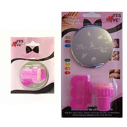 Kit Stamping nail art Tampon, raclette et disque déco ongles Yes Love