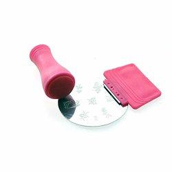 Kit Stamping Nail Art déco 3 pièces tampon, raclette métal, disque