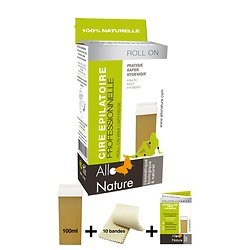 Recharge Cire épilation Roll-On en 100 ml avec 10 bandes - Allo'Nature