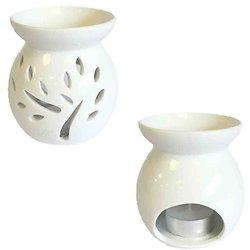 Brûleur à huile céramique Blanc Arbres Petit modèle cire parfumée