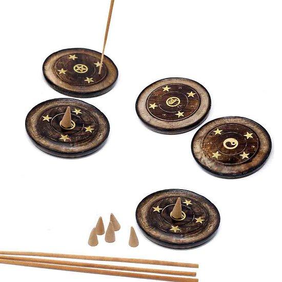 Disque porte-encens bâtonnet ou cône bois de manguier aléatoire