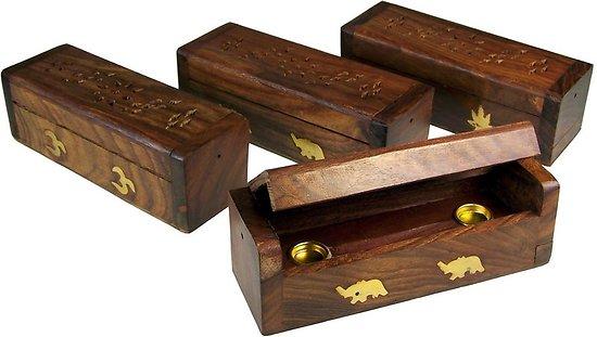 Boîte Cônes d'Encens en bois - motifs aléatoires