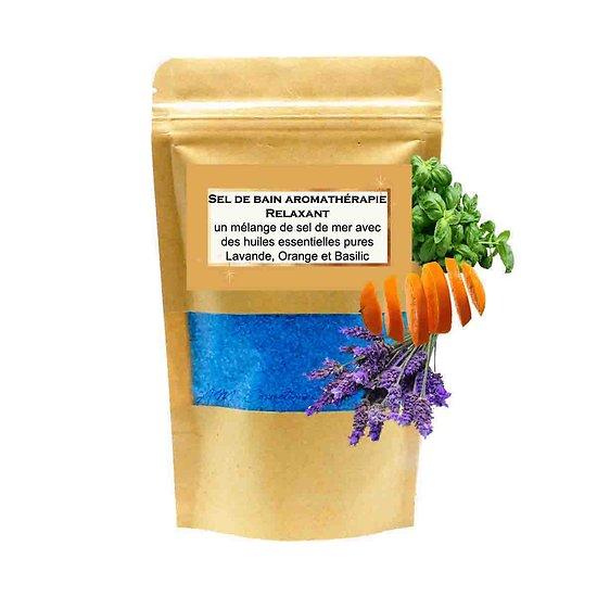 Sel de bain Relaxant avec mélange huiles lavande, orange, basilic