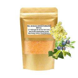Sel de bain Détox mélange huiles may chang, arbre à thé, genièvre