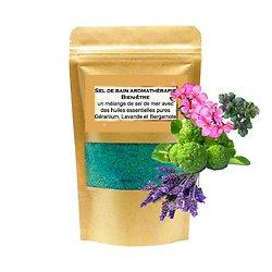 Sel de bain Bien-être mélange huile géranium, lavande, bergamote