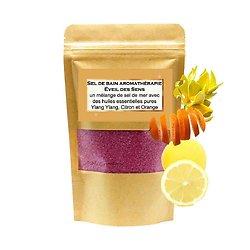 Sel de bain Eveil des Sens avec huiles ylang-ylang, citron, orange