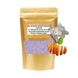 Sel de bain Luxure avec mélange huiles patchouli, orange, jasmin